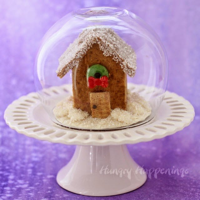Graham Cracker House Snow Globe for Christmas | HungryHappenings.com