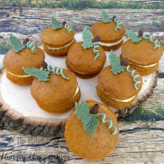 pumpkin whoopie pies decorated with fondant leaves