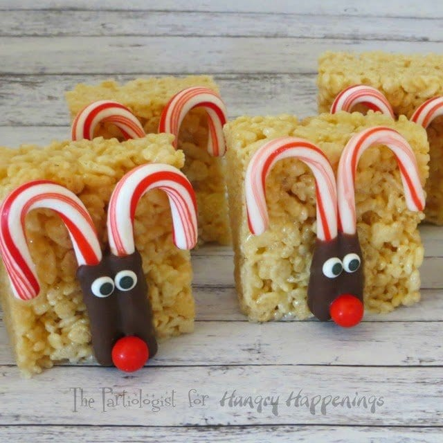 Candy Cane Rudolph the Red Nose Reindeer Rice Krispie Treats