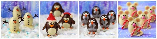 Chocolate Christmas Truffles, Snowmen, Penguins, and Mice | https://hungryhappenings.com/