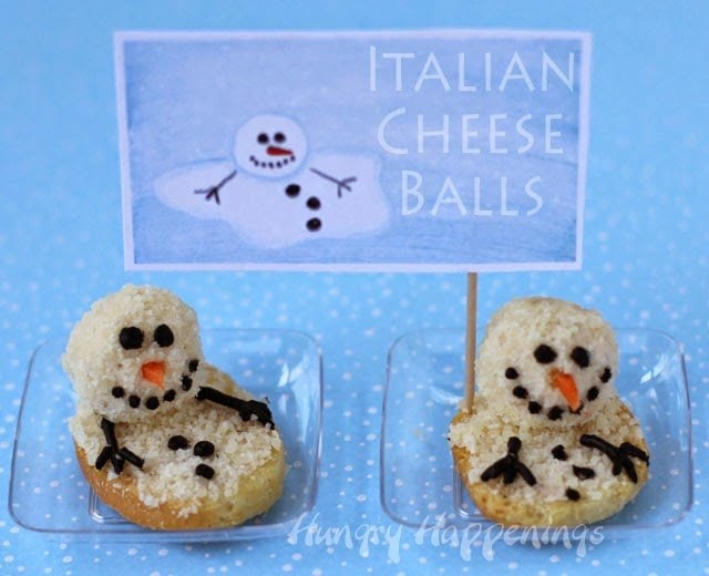 Mini Melting Cheese Ball Snowmen are a fun savory version of a Christmas treat. See the recipe at HungryHappenings.com