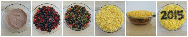 How to make and decorate a hot taco dip for a New Year's eve party appetizer.