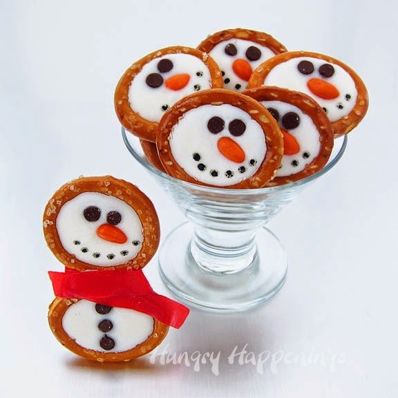 Snowman Pretzels from HungryHappenings.com