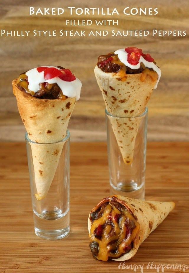 Steak and Pepper Tortilla Cones   HungryHappenings.com