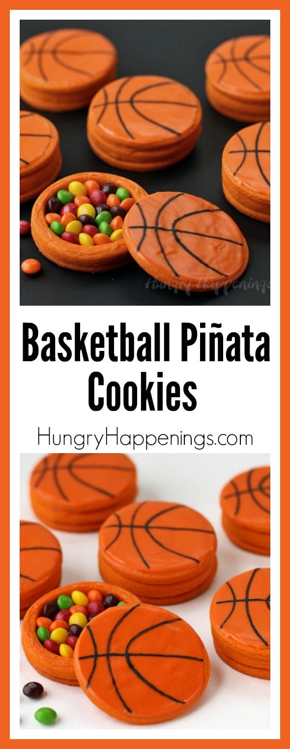 I'm here to bring you an amazingly fun March Madness recipe! Crack open one of these Basketball Piñata Cookies for a fun surprise! Sponsored post for Skittles and #CollectiveBias.
