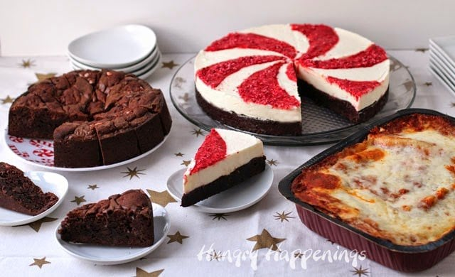 Holiday Desserts - Dark Chocolate Peppermint Brookies and Pepperming Swirl Mousse Cake   HungryHappenings.com