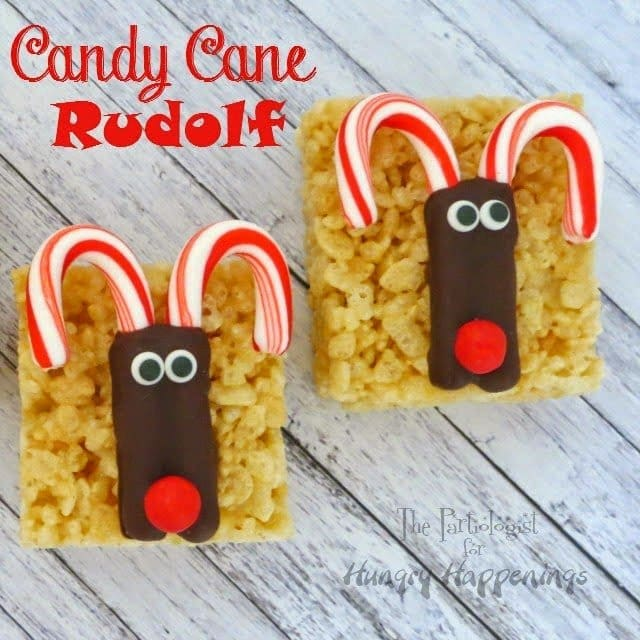 Candy Cane Rudolph on Rice Krispie Treats - Hungry Happenings