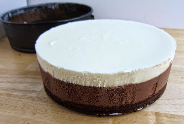 Triple Layer Chocolate Peppermint Mousse Cake | HungryHappenings.com