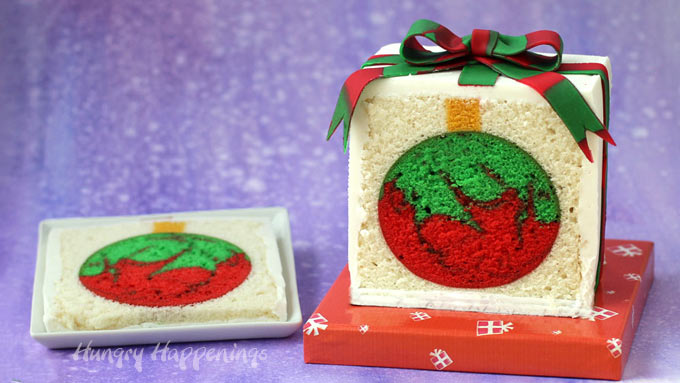 Cut a slice from the Christmas present cake to reveal an ornament hiding inside.