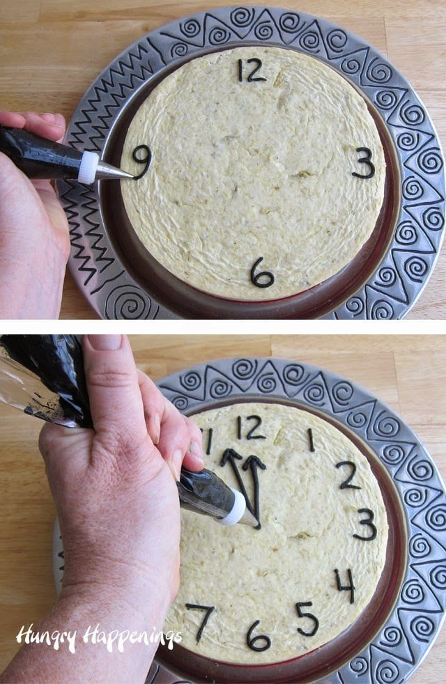 How to make a savory cheesecake countdown clock for a New Year's Eve party