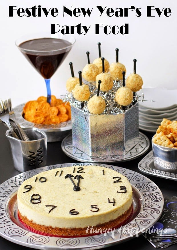 new year s eve party food parmesan artichoke cheesecake countdown clock and mini time s square cheese balls hungry happenings new year s eve party food parmesan