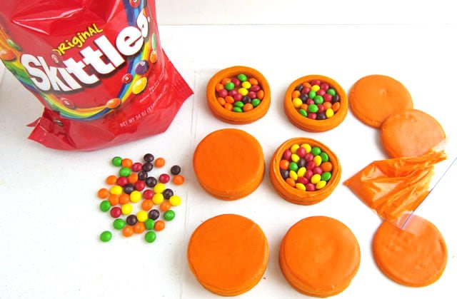 fill the basketball cookies with Skittles