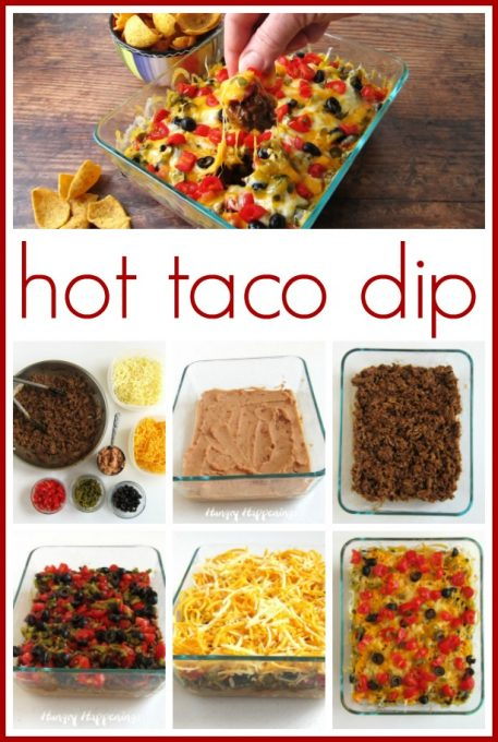 Learn how to make a delicious hot taco dip by layering refried beans, taco meat, tomatoes, jalapenos, black olives, and two kinds of cheese.
