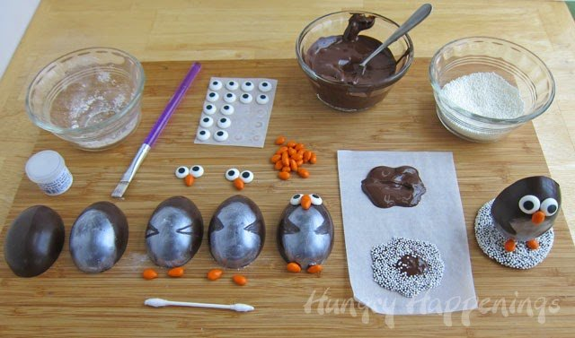 How to decorate Chocolate Penguin Truffles using luster dust | http://www.hungryhappenings.com