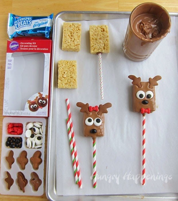 How to make Chocolate Rice Krispie Treat Reindeer Lollipops for Christmas | https://hungryhappenings.com/