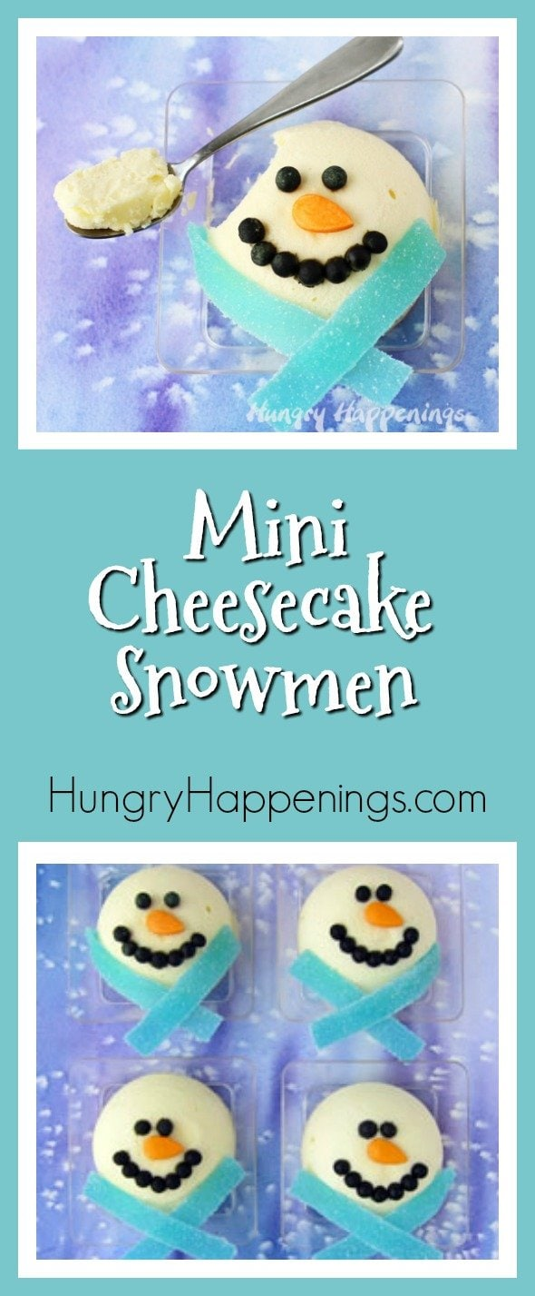 I made a batch of these Mini Cheesecake Snowmen for my cheesecake loving family over Thanksgiving weekend and served them for dessert. I wanted to get a few projects created ahead of time because I knew I had a jam packed schedule this month and no one complained about having snowmen invade Thanksgiving.
