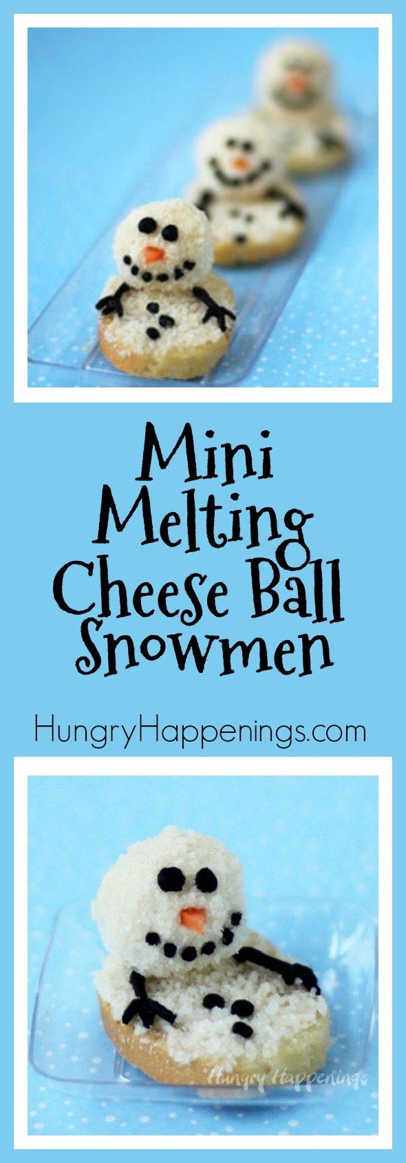 I'm helping my mom plan her Christmas Eve party and spent some time yesterday playing around with a few appetizer recipes and had a blast making Mini Melting Snowman Cheese Balls.