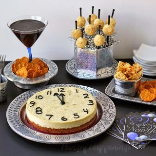 New Year's Eve Party Food- Parmesan Artichoke Cheesecake Countdown Clock and Mini Time's Square (Cheese) Balls