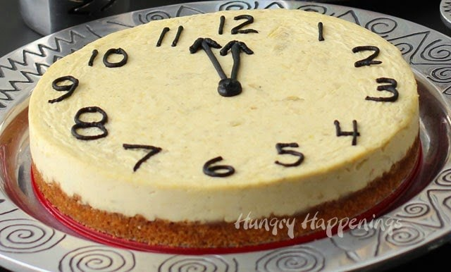 New Year's Eve Party Food - Parmesan Artichoke Cheesecake Countdown Clock | https://hungryhappenings.com/