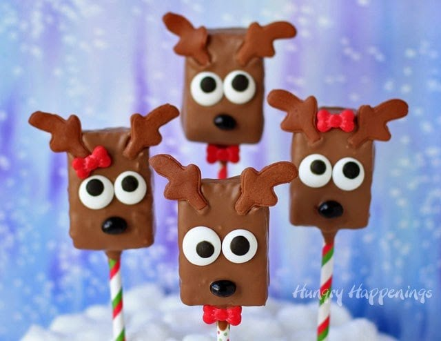 Chocolate Rice Krispie Reindeer Pop | Christmas Rice Krispie Treats Recipes You'll Love