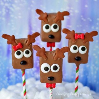 Chocolate Rice Krispie Treat Reindeer Pops