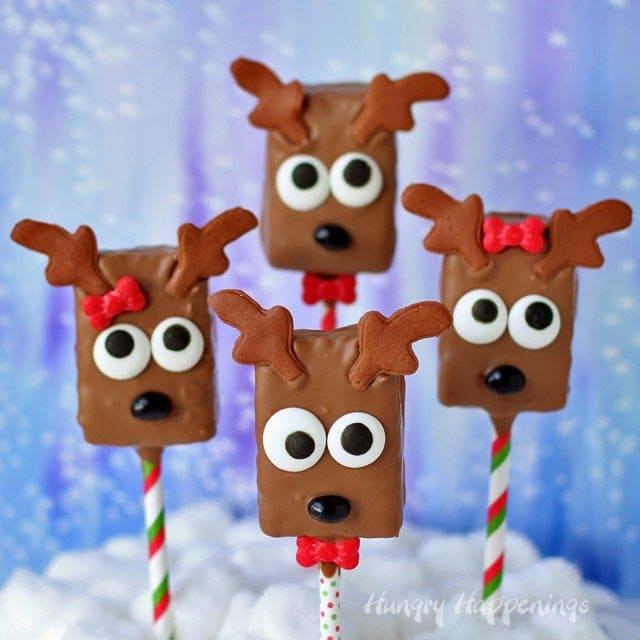 These sweet Chocolate Rice Krispie Treat Reindeer Pops couldn't be easier to make. Almost everything you need to decorate them comes in a kit.