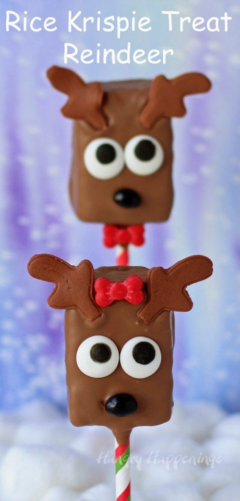 Chocolate Rice Krispie Treat Reindeer | https://hungryhappenings.com/