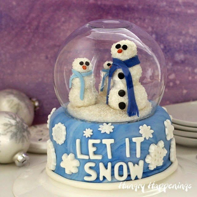 It's blustery cold outside, but I'm betting it's not as chilly as it looks for these snowmen inside my Snow Globe Cake. These snowmen are made out of cake pops so they may get eaten before they freeze.