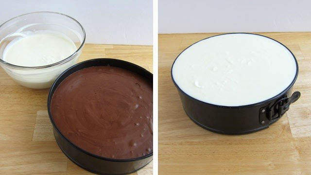 Layer White Chocolate Peppermint Mousse over Dark Chocolate Mousse