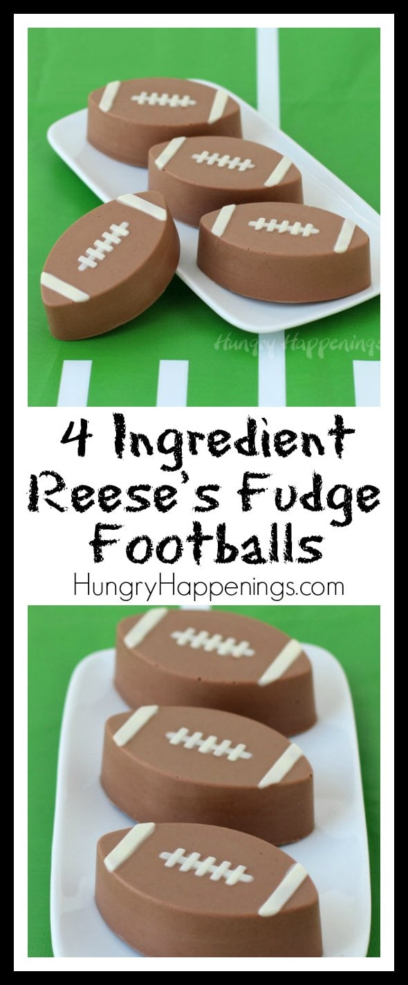 This week as I prepare festive food for Super Bowl, I'm focusing on quick and easy recipes that look so impressive that your party guests will think you spent hours. These Reese's Fudge Footballs were ready in about 45 minutes.