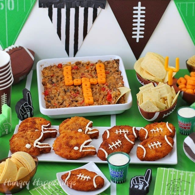 The Big Game is this weekend, and I'm wrapping things up by sharing two final recipes including a Zesty Cheddar Ranch Crispy Football Chicken Nuggets and Baby Bella Bacon Cheeseburger Dip