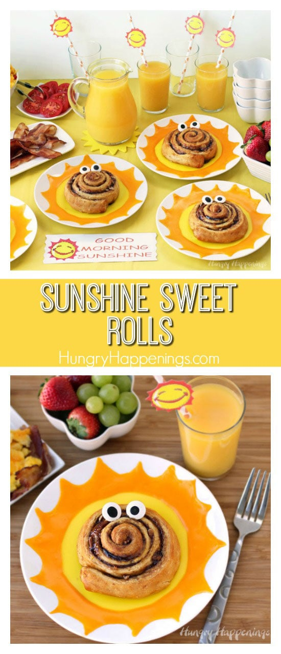 During the gloomy days of winter when it's hard to get out of bed in the morning, thisGood Morning Sunshine Sweet Rolls and Breakfastis the way to go!WithPepperidge Farm Pecan Caramel Sweet Rolls, Florida Orange Juice, eggs, bacon, and fruit this breakfast goes deliciously all out!