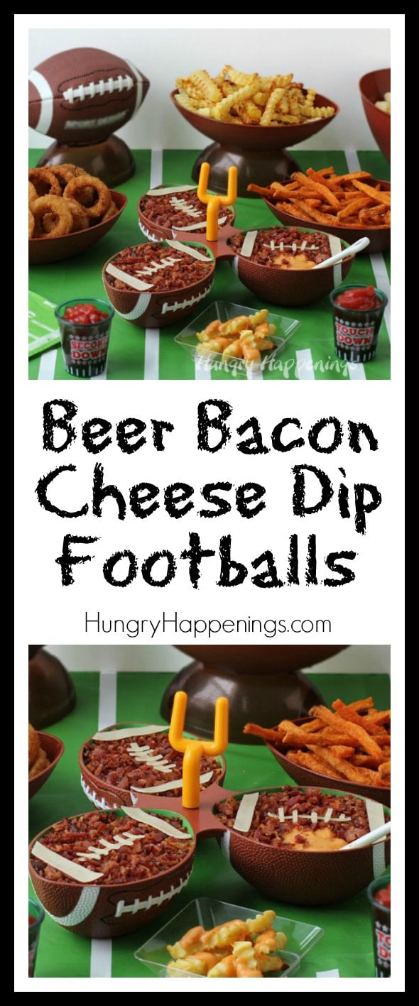 Are you looking for some fun Game Time Grub? These Beer Bacon Cheese Dip Footballs served with Alexia Roasted Crinkle Cut Fries with Sea Salt that I made as part of a post sponsored for #CollectiveBias will make your hungry fans happy no matter the outcome of the game. #GameTimeGrub