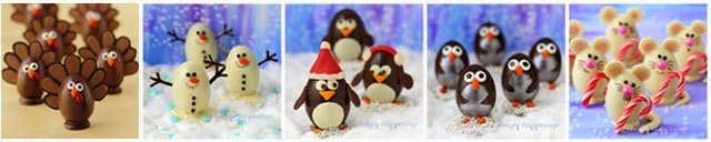 Who can resist these adorable turkey, snowman, penguin, and mousse chocolate truffles? Not me! | HungryHappenings.com