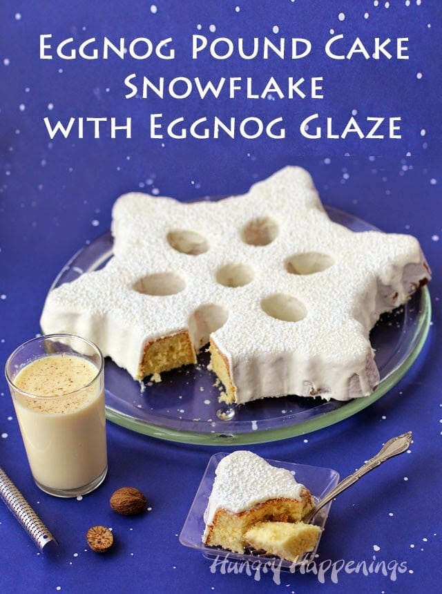 Eggnog Snowflake Cake Topped with Eggnog Ganache by HungryHappenings.com