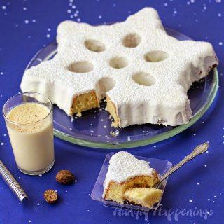 Eggnog Snowflake Cake Topped with Eggnog Ganache