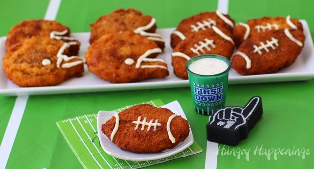 These Zesty Cheddar Ranch Crispy Fried Chicken Footballs & Helmets will please the kids if us all. Great for Super Bowl or Tailgating Parties. from HungryHappenings.com