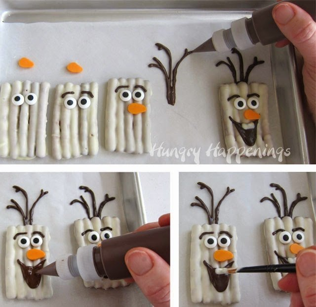 How to make White Chocolate Olaf Pretzel Craft from HungryHappenings.com
