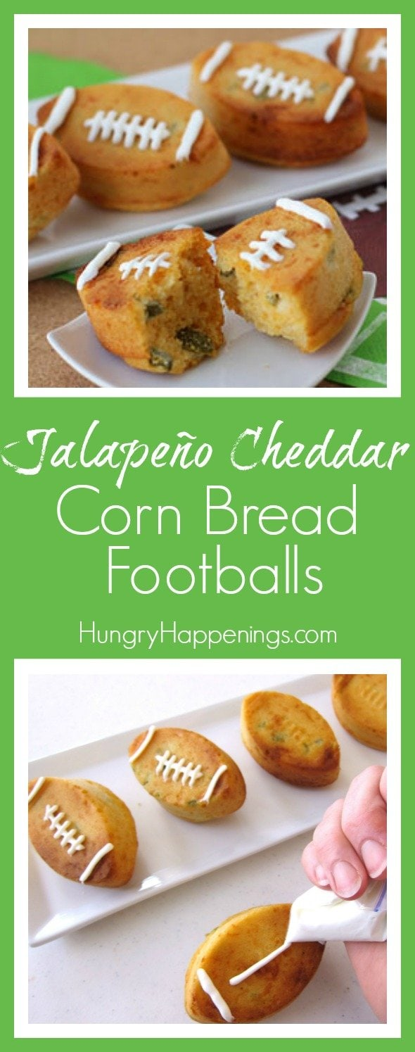 It's so easy to turn a boxed bread mix into these festive Jalapeño Cheddar Corn Bread Footballs for your Super Bowl party and no one needs to know you didn't slave all day in the kitchen.