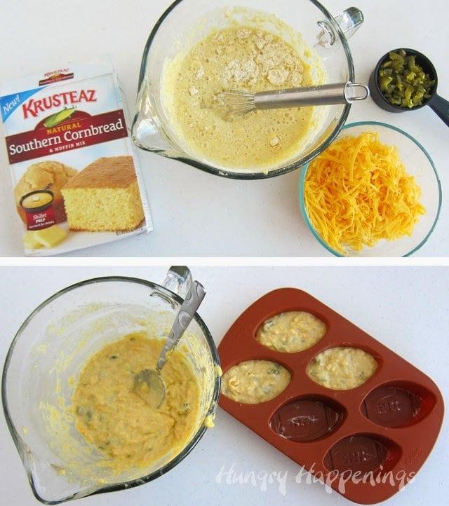 Krusteaz Jalapeño Cheddar Corn Bread Footballs Recipe from HungryHappenings.com