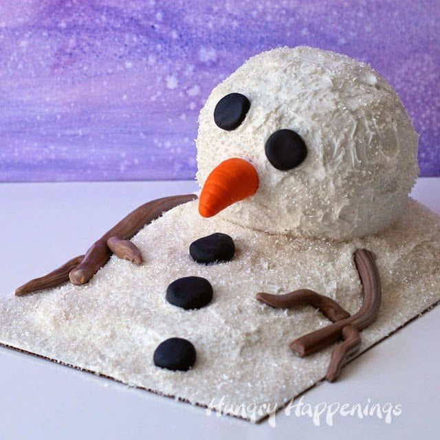 If you cut into this Melting Snowman Surprise Cake, you'll find something hiding inside.