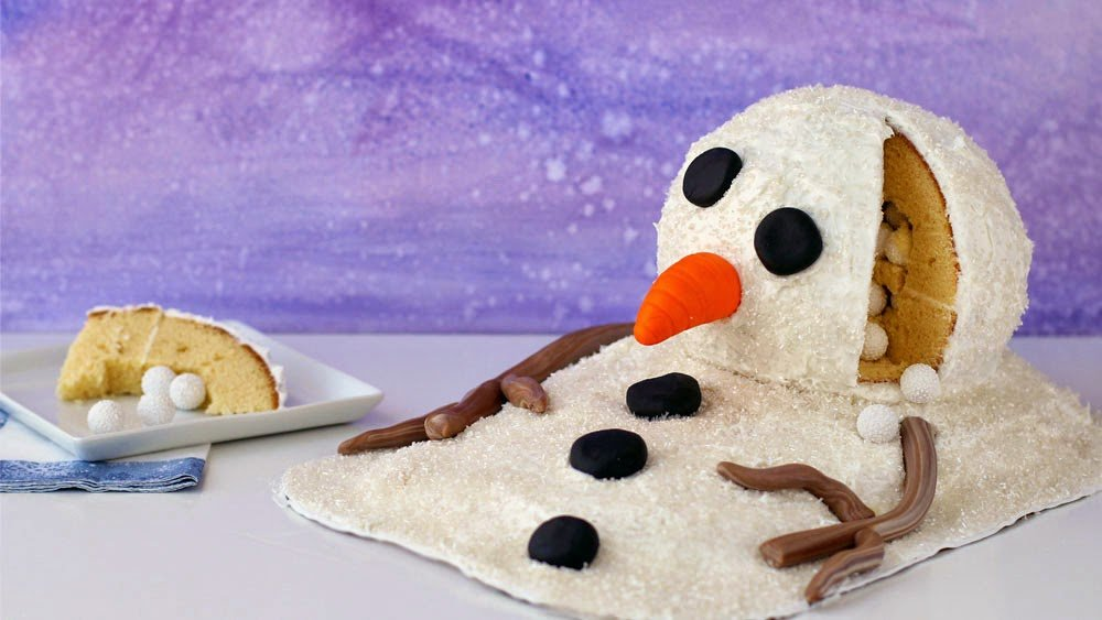 Melting Snowman Cake with Snowball Candies Hiding Inside | HungryHappenings.com