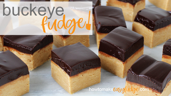 buckeye fudge with a layer of peanut butter fudge topped with chocolate ganache