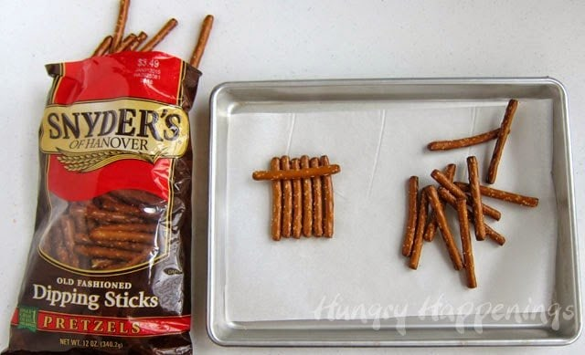 Snyder's of Hanover Pretzel Dipping Sticks are just the right size to make Chocolate Snowmen Pretzels.
