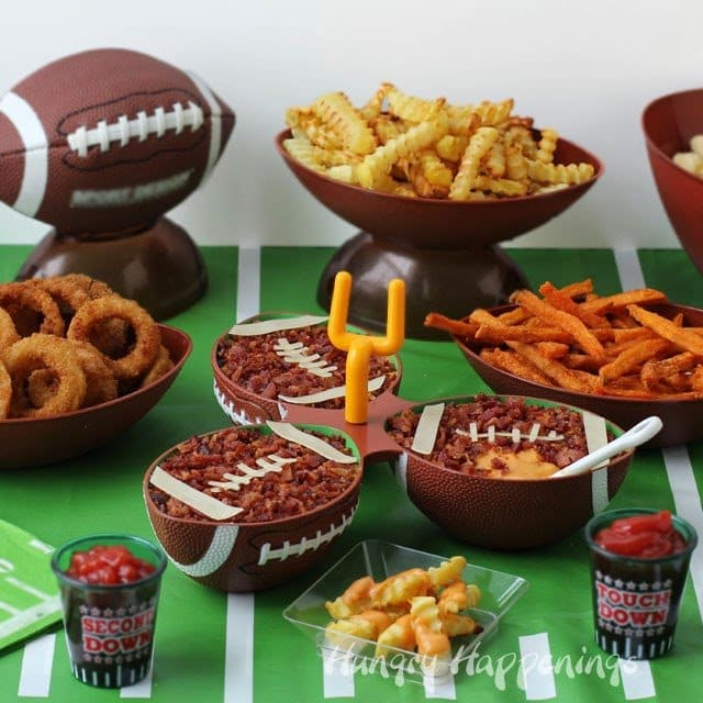 Beer Bacon Cheese Dip Footballs served with Alexia Roasted Crinkle Cut Fries make great snacks for your Super Bowl Parties from HungryHappenings.com