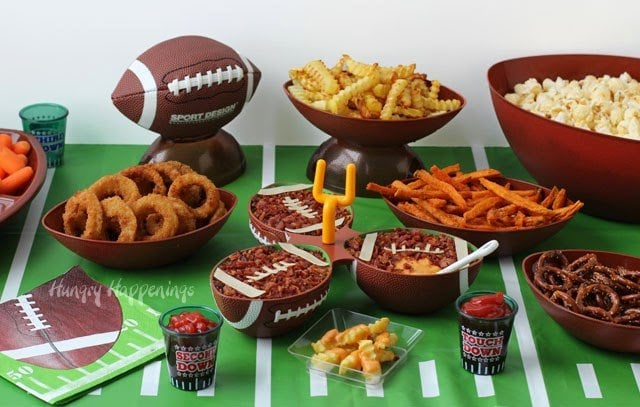 Super Bowl Party Food Ideas - Beer Bacon Cheese Dip Footballs served with Alexia Roasted Crinkle Cut Fries from HungryHappenings.com