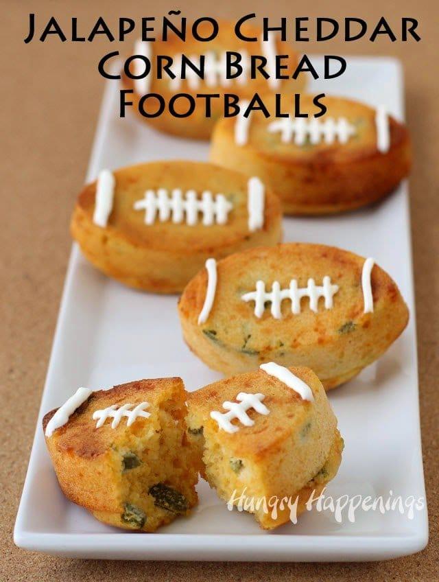 Jalapeño Cheddar Corn Bread Footballs from HungryHappenings.com