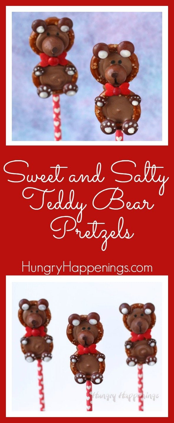 These Sweet and Salty Teddy Bear Pretzels will surely melt the hearts of all those who receive them on Valentine's Day. They are incredibly easy to make and are even easier to eat, be careful or you'll eat the whole display!
