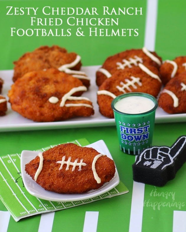 Learn how to make super sized chicken nugget shapes. These Zesty Cheddar Ranch Crispy Fried Chicken Footballs & Helmets will please the kids if us all. Great for Super Bowl or Tailgating Parties. Recipe and tutorial from HungryHappenings.com