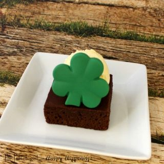 Shamrock Topped Brownies and Ice Cream